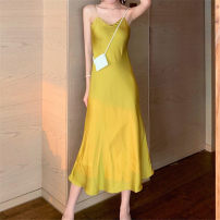 Dress Summer 2020 Blue, black, goose yellow S,M,L longuette singleton  Sleeveless Sweet Crew neck Solid color Socket A-line skirt camisole Open back, fold Silk and satin Cellulose acetate solar system