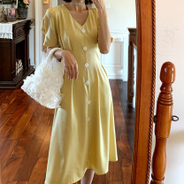 Dress Summer 2020 Ice cream blue, grapefruit apricot powder, milkshake yellow, ivory white, Hepburn black S,M,L,XL Mid length dress singleton  Short sleeve commute V-neck High waist Solid color Single breasted Big swing puff sleeve Type H lady