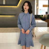 shirt Blue, skin pink S,M,L Autumn of 2019 cotton 91% (inclusive) - 95% (inclusive) Long sleeves Sweet Regular Scarf Collar Single row multi button routine Solid color Straight cylinder Other / other Mori