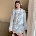 Fashion suit Winter 2020 S, M Apricot tweed jacket, blue tweed jacket, apricot skirt, blue skirt, high collar and base coat 18-25 years old