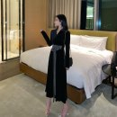 Dress Winter of 2019 black M, L Mid length dress singleton  Long sleeves commute V-neck middle-waisted Solid color Socket routine Others Type X Other / other Retro