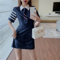 Lace / Chiffon Summer 2021 Grey blue (with tie) Navy (with tie) S M elbow sleeve commute Super short 18-24 years old Enigma 6001# Korean version Other 100% Pure e-commerce (online only)