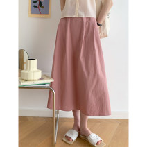 skirt Summer 2021 S, M Cream rice, sweet berry powder Mid length dress commute High waist A-line skirt Solid color Type A Q21029 More than 95% Glutinous rice you don't bloom cotton Simplicity