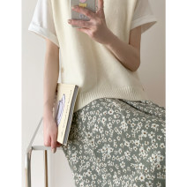 skirt Spring 2021 S. M, l, S / pre-sale about 18 days, M / pre-sale about 18 days Grey bean green, Retro Red Mid length dress commute High waist A-line skirt Broken flowers Type A Q21416 More than 95% Glutinous rice you don't bloom polyester fiber Simplicity