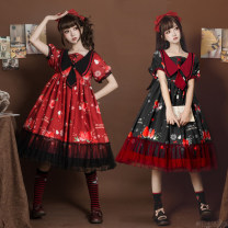 Dress Summer 2021 Black short sleeve skirt, red short sleeve skirt, blue short sleeve skirt, accessories four piece set S,M,L Middle-skirt singleton  Short sleeve Sweet Admiral middle-waisted Type A Bowknot, ruffle, tridimensional decoration, printing Lolita