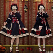 Dress Autumn 2020 Cyan OP dress S,M,L Middle-skirt singleton  Long sleeves Sweet stand collar Solid color zipper Ruffle Skirt Type A Auricularia auricula, lace, three-dimensional decoration, ruffle, bow Lolita