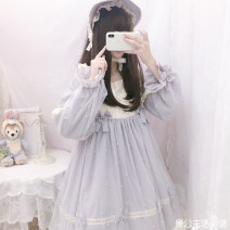 Dress Spring 2021 Pink dress, light blue dress, BNT hat (click customer service link) S,M,L Middle-skirt singleton  Long sleeves Sweet Solid color zipper Type A Lace, bow, three-dimensional decoration, gauze net Lolita