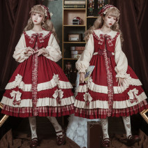 Dress Autumn 2020 S,M,L Middle-skirt singleton  Long sleeves Sweet Doll Collar High waist Solid color zipper bishop sleeve Type A 81% (inclusive) - 90% (inclusive) Lolita