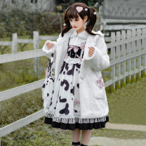 Dress Spring 2021 Jsk suspender skirt, long sleeve shirt, plush coat, bag S,M,L Middle-skirt Three piece set Sweet Type A Bowknot, ruffle, printing, three-dimensional decoration, stitching, epaulets Lolita