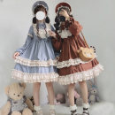 Dress Autumn 2020 S,M,L Middle-skirt singleton  Long sleeves Sweet Solid color Type A Bow, ruffle, stitching, three-dimensional decoration Lolita