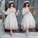 Dress Spring 2020 Pink OP dress (stock), blue OP dress (stock), red OP dress (stock) S,M,L Mid length dress Long sleeves Sweet stand collar Decor Type A Bowknot, ruffle, tridimensional decoration, bandage, lace Lolita