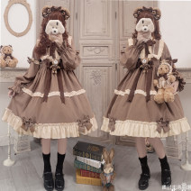 Dress Autumn 2020 Brown skirt (Brooch for bear) S,L singleton  Long sleeves Sweet stand collar middle-waisted Solid color zipper Type A Bowknot, ruffle, tridimensional decoration, Auricularia auricula Lolita