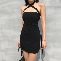 Dress Summer 2021 black S,M,L Short skirt singleton  Sleeveless street One word collar High waist Solid color Socket One pace skirt routine camisole 18-24 years old Type H Bandage, resin fixation, off shoulder DLWLD01409 71% (inclusive) - 80% (inclusive) other cotton Europe and America