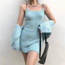 Dress Winter 2020 Blue dress, pink dress, blue sweater, pink sweater Average size Short skirt Two piece set Long sleeves street square neck High waist Solid color Socket One pace skirt routine camisole 18-24 years old Type H Chain, resin fixation DLD8079V0J 71% (inclusive) - 80% (inclusive) other