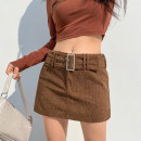 skirt Winter 2020 S,M,L Khaki, black, pink, purple, yellow Short skirt street High waist skirt Solid color Type H 18-24 years old DLD8864W0J More than 95% corduroy polyester fiber Resin fixation, belt Europe and America