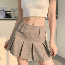 skirt Summer 2021 S,M,L khaki Short skirt street High waist Pleated skirt stripe Type A 18-24 years old DLWAD10833 51% (inclusive) - 70% (inclusive) other cotton Pleated, printed, lined Europe and America
