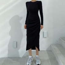 Dress Autumn 2020 black S,M,L Mid length dress singleton  Long sleeves commute Crew neck High waist Solid color Socket One pace skirt routine Others 18-24 years old Type H Retro Resin fixation DLD7913W0I 51% (inclusive) - 70% (inclusive) knitting cotton