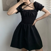 Dress Summer 2020 black S,M,L Short skirt singleton  Short sleeve street square neck High waist Solid color Socket A-line skirt puff sleeve Others 18-24 years old Type A Resin fixation DLD2989W0F More than 95% other cotton Europe and America