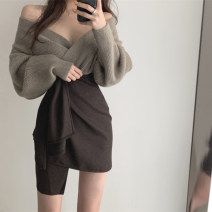 sweater Winter 2020 Average size Coffee (sweater), grey (sweater), coffee (skirt), grey (skirt) Long sleeves Socket singleton  have cash less than that is registered in the accounts polyester fiber 51% (inclusive) - 70% (inclusive) V-neck Regular street routine Solid color Straight cylinder