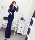 Dress Winter of 2018 Red, Navy, black S,M,L,XL longuette singleton  Long sleeves commute 18-24 years old Other / other Korean version Bowknot, stitching, mesh eleven point two three