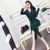 Dress Autumn of 2019 Red, green, black S,M,L,XL Mid length dress singleton  Long sleeves commute V-neck High waist Solid color Socket Pencil skirt routine 18-24 years old Type A Other / other Korean version One point three 91% (inclusive) - 95% (inclusive) polyester fiber
