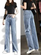 Jeans Summer of 2019 Light blue, dark blue, light blue [hole], blue [upgraded], medium blue [simplified], dark blue [upgraded] 26,27,28,29,30,31,32 trousers High waist Wide legged trousers routine 25-29 years old Make old, wash, whiten, zipper, button, others other light colour GM-07GM2608