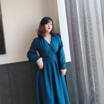 Women's large Spring 2021 blue 0, 1, 2, 3, 4, 5 Dress commute Self cultivation moderate Socket Long sleeves Retro V-neck Princess sleeve Nail bead longuette