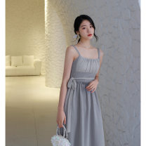 Dress Spring of 2019 S,M,L Mid length dress singleton  Sleeveless commute One word collar High waist stripe zipper A-line skirt camisole 18-24 years old Type A Auricularia auricula, lace up, stitching