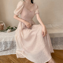Dress Summer of 2019 Cornus officinalis powder S,M,L longuette singleton  commute square neck High waist zipper A-line skirt puff sleeve 18-24 years old Type A Bowknot, lace up, stitching