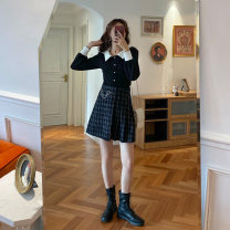 skirt Winter 2020 S,M,L Black and white Short skirt commute High waist A-line skirt lattice Type A 18-24 years old polyester fiber Fold, three-dimensional decoration, asymmetry