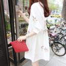 Dress Other / other Korean cotton hemp - white M,L,XL,XXL Korean version elbow sleeve Medium length summer Crew neck Solid color Cotton and hemp