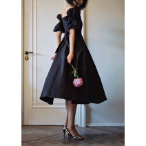 Dress Spring 2021 Retro Black XS [spot], s [spot], m [pre-sale, mid May], l [spot] Mid length dress singleton  elbow sleeve commute square neck High waist Solid color zipper A-line skirt puff sleeve 25-29 years old Type A Retro
