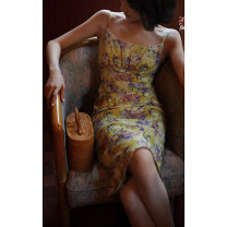 Dress Summer 2021 Goose yellow + orange flowers, light yellow + purple flowers XS [pre sale mid May], s [pre sale mid May], m [pre sale mid May], l [pre sale mid May] Mid length dress singleton  Sleeveless commute Crew neck High waist Decor zipper One pace skirt routine camisole 25-29 years old Retro