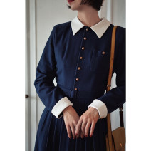 Dress Winter 2020 Navy Blue S [spot], m [spot], l [spot] Mid length dress singleton  Long sleeves commute tailored collar High waist Solid color Single breasted shirt sleeve Others 25-29 years old Type A Retro