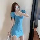 Dress Summer 2020 Blue, yellow Average size Short skirt singleton  18-24 years old