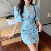 Lace / Chiffon Summer 2020 blue S M Short sleeve Socket singleton  Straight cylinder Super short Solid color 18-24 years old Philenkay Other 100% Pure e-commerce (online only)