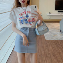 Lace / Chiffon Summer 2021 Grey bear round neck T 7618 white bear round neck T 7618 pink A-line skirt 7619 blue A-line skirt 7619 S M L Short sleeve Versatile Socket Two piece set Straight cylinder Regular Crew neck other routine 18-24 years old Philenkay 31% (inclusive) - 50% (inclusive) Other 100%