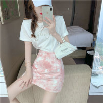 Lace / Chiffon Summer 2021 White top black top grey Top Blue Top Pink Skirt Blue Skirt S M L Short sleeve Versatile Socket Two piece set easy Regular Crew neck 18-24 years old Philenkay Cotton 96% other 4% Pure e-commerce (online only)