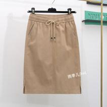 skirt Spring 2021 S,M,L,XL,2XL,3XL Khaki, black Middle-skirt commute High waist skirt Solid color Type H 25-29 years old 91% (inclusive) - 95% (inclusive) Denim cotton Pocket, lace up Korean version