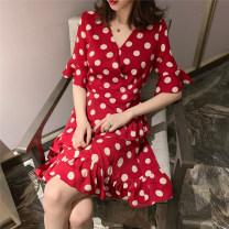 Dress Summer of 2019 Red, black M,L,XL,2XL,3XL,4XL Middle-skirt Short sleeve Sweet V-neck High waist Ruffle Skirt pagoda sleeve Type A Other / other WN0001934 Chiffon