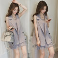 Women's large Summer 2020, spring 2020 Gray, Khaki Two piece set commute easy thin Cardigan Sleeveless Solid color Korean version Half open collar Medium length other Three dimensional cutting Medium length Pleated skirt