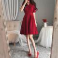Dress Summer 2020 Red, black M [80-100 Jin], l [100-115 Jin], XL [115-130 Jin], 2XL [130-150 Jin], 3XL [150-170 Jin], 4XL [170-200 Jin] Mid length dress singleton  Short sleeve commute V-neck middle-waisted Solid color Socket A-line skirt Korean version WN0000248 81% (inclusive) - 90% (inclusive)