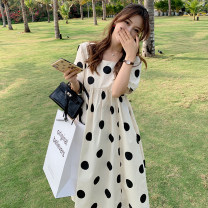 Women's large Summer 2021 Off white Big L, big XL, big M, big 2XL, big 3XL, big 4XL Dress singleton  Sweet easy thin Socket Short sleeve Dot square neck Medium length polyester Three dimensional cutting puff sleeve 8021 in stock Happy family 18-24 years old belt