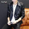 leather clothing VNYYT Fashion City 165/M 170/L 175/XL 180/XXL routine Imitation leather clothes tailored collar Slim fit Diagonal zipper placket autumn leisure time youth Polyester 100% Exquisite Korean style YYHM8203 Cloth hem Side seam pocket Metal decoration No iron treatment Spring 2017