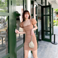 Dress Summer 2021 Black, brown S,M,L Mid length dress singleton  Short sleeve commute square neck High waist Solid color One pace skirt puff sleeve Type X Retro Pleat, web Pleated mesh skirt organza