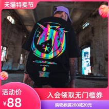 T-shirt Youth fashion routine S M L XL 2XL 3XL 4XL 5XL 6XL Nuthink Short sleeve Crew neck easy Other leisure summer Cotton 100% Large size Off shoulder sleeve tide other Summer 2020 Animal design printing cotton Animal design No iron treatment Pure e-commerce (online only) More than 95%