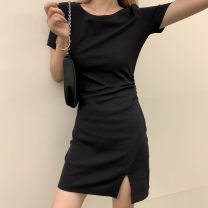 Dress Summer 2020 Black, gray S,M,L longuette singleton  Short sleeve commute Crew neck Elastic waist Solid color Socket other routine Others 18-24 years old Type X Other / other Korean version Pleating knitting cotton