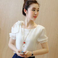 Lace / Chiffon Summer of 2019 White, pink, red, single skirt S,M,L,XL,2XL,3XL Short sleeve commute Socket singleton  easy have cash less than that is registered in the accounts Crew neck Solid color Princess sleeve 18-24 years old Other / other 732# bow Korean version 96% and above polyester fiber