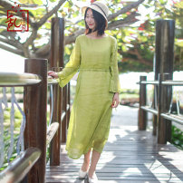 Dress Spring of 2019 Grass green M L Mid length dress singleton  Long sleeves commute Crew neck Elastic waist Solid color Socket A-line skirt routine 35-39 years old Type A Chaos in the south of the Yangtze River Retro More than 95% hemp Ramie 95% others 5% Pure e-commerce (online only)