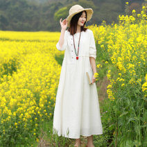 Dress Spring 2021 white M L longuette singleton  three quarter sleeve commute Crew neck Loose waist Solid color Socket A-line skirt routine Oblique shoulder 30-34 years old Type A Chaos in the south of the Yangtze River literature Pleated pocket button 81% (inclusive) - 90% (inclusive) other cotton